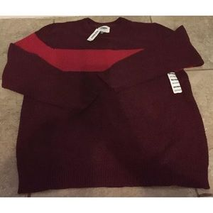NWT Mens Maroon & Red OLD NAVY Crewneck Sweater XL